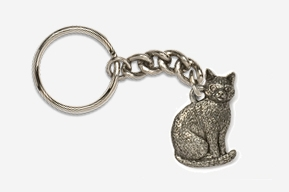 #K439 - Sitting Cat Antiqued Pewter Keychain