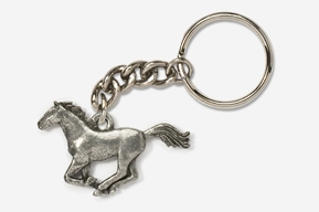 #K443 - Galloping Horse Antiqued Pewter Keychain