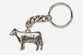 #K445 - Cow Antiqued Pewter Keychain