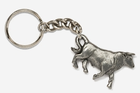 #K445A - Bull Antiqued Pewter Keychain