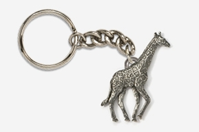 #K494 - Giraffe Antiqued Pewter Keychain