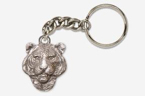 #K495A - Tiger Head Antiqued Pewter Keychain
