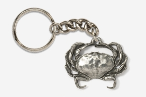 #K531A - Dungeness Crab Antiqued Pewter Keychain