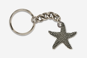 #K539 - Starfish Antiqued Pewter Keychain