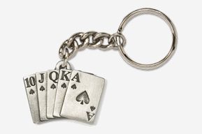 #K710 - Royal Flush Antiqued Pewter Keychain