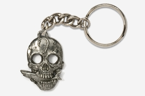 #K802 - Skull with Shark Antiqued Pewter Keychain