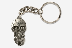 #K804 - Poker Playing Skull Antiqued Pewter Keychain