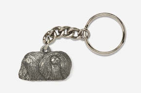 #K853 - Pekinese Antiqued Pewter Keychain