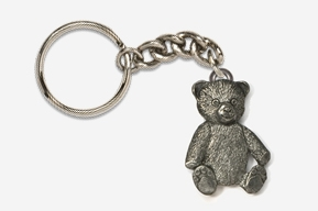 #K970 - Teddy Bear Antiqued Pewter Keychain