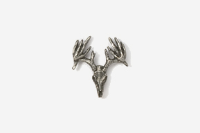 #M468D - 13 Point Drop Tine Buck Skull Pewter Mini-Pin