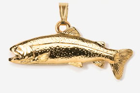 #P112G - Rainbow Trout 24K Gold Plated Pendant