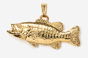 #P121G - Smallmouth Bass 24K Gold Plated Pendant