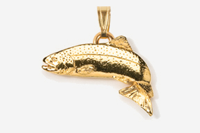 #P122AG - Jumping Atlantic Salmon 24K Gold Plated Pendant