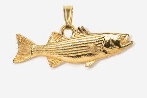 #P207G - Striper / Striped Bass 24K Gold Plated Pendant