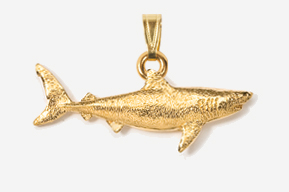 #P250G - Great White Shark 24K Gold Plated Pendant