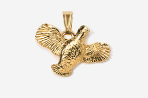 #P329G - Open Wing Flying Bobwhite 24K Gold Plated Pendant