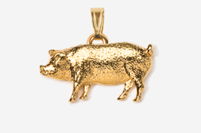 #P446G - Pig 24K Gold Plated Pendant