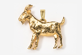 #P448G - Goat 24K Gold Plated Pendant