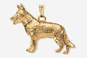 #P452G - German Shepherd 24K Gold Plated Pendant
