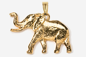 #P490G - Elephant 24K Gold Plated Pendant