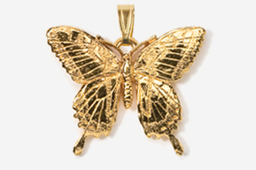 #P570G - Tiger Swallowtail 24K Gold Plated Pendant